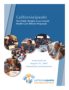 CaliforniaSpeaks Health Care Forum Report cover